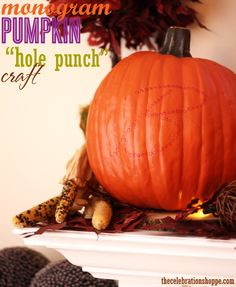 How to monogram a pumpkin for your #Thanksgiving table or entryway + tutorial video from thecelebrationshoppe.com #pumpkincrafts #easycrafts #fallcrafts #marthastewartcrafts