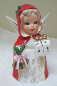 Vintage Japan Christmas Angel Holding Present & Bells w Red Coat & Holly Christmas Figurines, Vintage Christmas Ornaments, Retro Christmas, Vintage Holiday, White Christmas, Antique Christmas, Christmas Past, Christmas Items, Christmas Angels