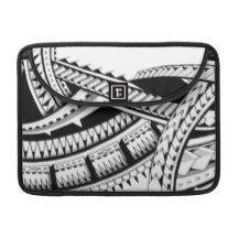 bold tribal polynesia island hawaii tatau designs sleeve for MacBook pro