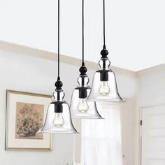 Yamila Bell-shaped Glass Antique Black Pendant Chandelier (Antique Black, Clear Glass Bell), The Lighting Store 3 Light Pendant, Pendant Chandelier, Chandelier Lighting, Montezuma, Chandeliers, Cool Lighting, Lighting Ideas, Island Lighting, Online Lighting Stores