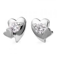 Heart Shape Diamond Earrings on 10K White Gold