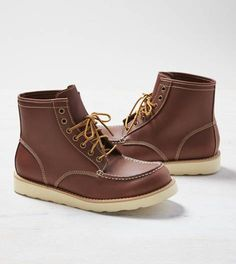 Medium Brown AEO Leather Lace-Up Boot