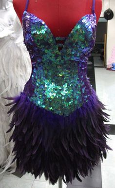 Purple Feather Showgirl Drag Queen Samba Cabaret Latin Salsa Dance Sequin Dress