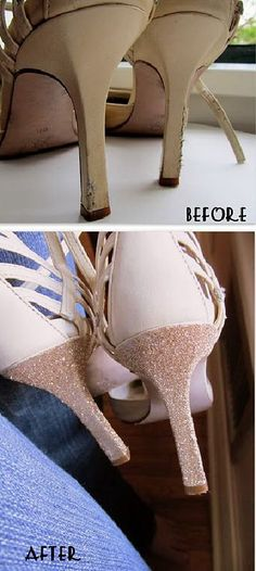 Heel Makeover. Got scuffed up heels? You could rub it with a tiny amount of Vaseline, or just give it a facelift with some glitter.