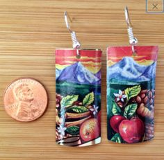From my shop: Vintage Tin Up Cycled Fuji Mountain Fruit Rectangle Earrings Artisan Jewelry, Handcrafted Jewelry, Tin Containers, Tea Tins, Handmade Sterling Silver, Paper Decorations, Fuji Mountain, Upcycle, Earrings