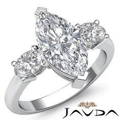 Women's Ideal Marquise Diamond 3 Stone Engagement Ring GIA H VS2 Platinum 1 5 Ct | eBay