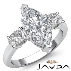 Women's Ideal Marquise Diamond 3 Stone Engagement Ring GIA H VS2 Platinum 1 5 Ct   eBay