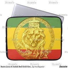 Shop Rasta Lion of Judah Red Gold Green Laptop Sleeve created by truckeystar.