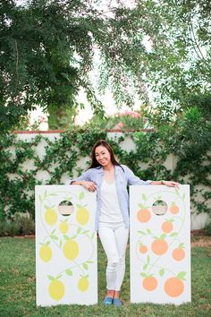 Diana Elizabeth Blog | Style, Decor, Phoenix Photography, Gardening, Lifestyle Blog // citrus custom cornhole from @tossoinc #havemorefun Fun Outdoor Games, Family Bbq, Lawn Games, Corn Hole Game, Ballard Designs, Cornhole, Lifestyle Blog, Phoenix, Diana