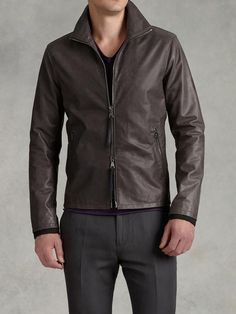 Two-Way Zip Front Leather Jacket