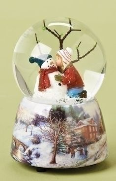 5 Musical Girl Kissing Snowman Winter Scene Christmas Glitterdome -- Be sure to check out this awesome product.