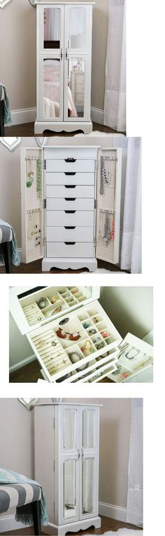 Jewelry Boxes 3820: Jewelry Armoire White Box Mirrored Chest Tall Storage Cabinet Stand Wood Mirror -> BUY IT NOW ONLY: $388.95 on eBay!
