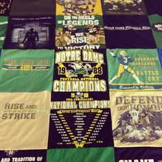 T-Shirt Quilt Blanket Story Series from Project Repat - a notre dame t-shirt quilt!