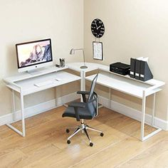 FIVEGIVEN Small White Computer Desk Modern Writing Desk with Storage for Home Office