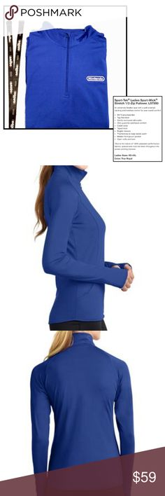 {Sport-Tek} Nintendo sport pullover Sport-Tek * Pullover * Size Large (runs small) * Royal Blue * Tag Free * Slimming Silhouette * 1/2 Zip with Chin Guard * Long Sleeves with Thumbholes  * Hidden Front Pouch Pocket * Moisture-Wicking Fabric * 90% Polyester / 10% Spandex * Front has pilling from laynard rubbing against it - otherwise great condition - no ribs, tears, fading, etc * Nintendo Branding on front Chest * RARE - CUSTOM MADE FROM NINTENDO  * Gaming * Sport * Athletic * Sweatshirt…