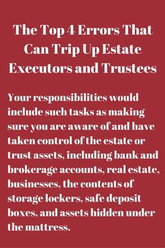 The Top 4 Errors That Can Trip Up Estate Executors and Trustees – Tax and Estate Planning for You Life Estate, Real Estate, Funeral Planning Checklist, Family Emergency Binder, Retirement Advice, Retirement Planning, When Someone Dies, Last Will And Testament, Life Binder