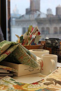 artist's desk at Lee Jofa taken by krista nye schwartz of cloth & kind #blogfest2011