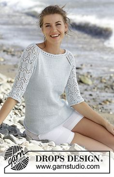 """Sea nymph / DROPS - free knitting patterns by DROPS design, DROPS pullover knitted from top to bottom in """"Muskat"""" with lace pattern and ¾-long raglan sleeves. Sizes S - XXXL. Summer Knitting, Lace Knitting, Knitting Patterns Free, Knit Crochet, Free Pattern, Knitting Tutorials, Crochet Granny, Finger Knitting, Crochet Summer"""