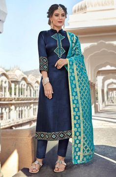 Shop Online Blue Party Wear Straight Cut Suits With Banarsi Silk Dupatta Harleen 7801 By Maisha , at suryavansicreation Pakistani Suit With Pants, Salwar Suits Pakistani, Churidar Suits, Patiala, Straight Cut Dress, Salwar Kameez Online, Blue Satin, Satin Top, Blue Party