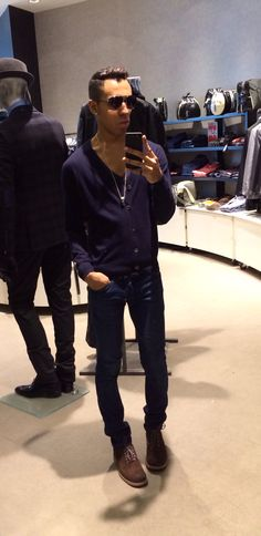 Spring 2014 Navy Blues American Apparel Navy Deep V, Uniqlo Navy Cardigan, Rufskin Jeans Wolverine Brown Suede Shoes