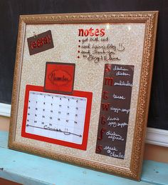 Make your own Dry Erase message board from an old frame and some scrapbook material.