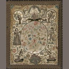 A Charles II silk and velvet needlework and stumpwork picture. mid 17th century