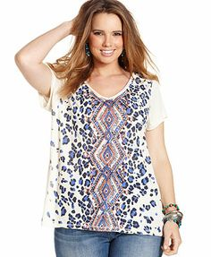 Lucky Brand Plus Size Animal-Print Tee