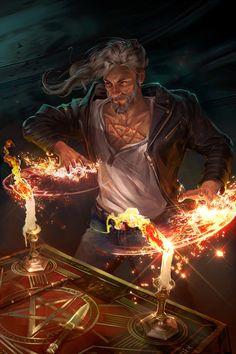 Mage working demonic magic, urban fantasy inspiration The 'Scotsman' //////////////// ArtStation - 07 Alexei Konev Character Concept, Character Art, Concept Art, Fantasy Male, Fantasy World, Fantasy Wizard, Final Fantasy, Dnd Characters, Fantasy Characters