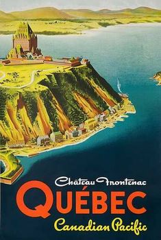 Chateau Frontenac Quebec Original Canadian Pacific Travel Poster #vintagetravelposters