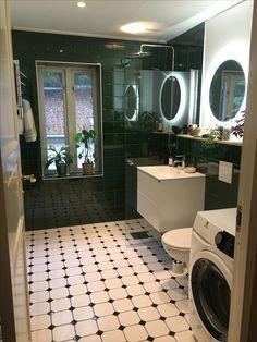 Dekora green tiles and hexagon tiles, led light mirror, ballingslöv sink, Gustavsberg toilet, Pax towel dryer.