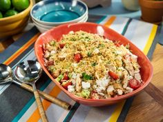 Get Greek Chicken and Orzo Pasta Salad Recipe from Food Network. I'm using Gluten Free Orzo. Kitchen Recipes, Cooking Recipes, Healthy Recipes, Kid Recipes, Cooking Games, Healthy Dishes, Greek Recipes, Healthy Meals, Cooking Tips