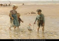 Children Playing On The Beach - Bernardus Johannes Blommers