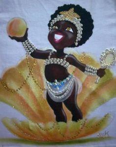 Flor de Lírio!!! Black Girl Art, Black Women Art, African American Art, African Art, Shango Orisha, Oshun Goddess, African Goddess, Fantasy Mermaids, Black Mermaid