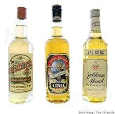 From left, aquavits from Scandinavia: O.P. Anderson from Sweden; Linie Aquavit from Norway; Jubiloeums Akvavit from Denmark. Photo: Erick Wong, The Chronicle