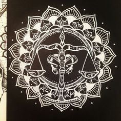 Libra Zodiac Sign Mandala - White on Black by elenoosh