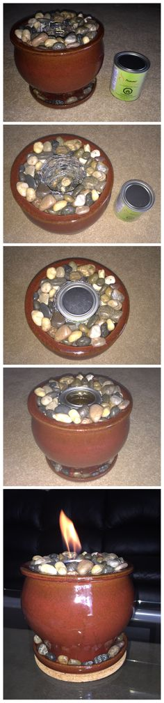 DIY Table Top Fire Bowl-flower pot + river rocks. Used wire to create a void in the middle so that the gel fuel can be replaced easier especially when the rocks are hot.