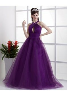 By Alexandra Dallaire Ball Gown Halter Sleeveless Floor-length Tulle Cheap Prom Dresses #BUKCH509 - See more at: http://www.anniedress.com/prom-dresses.html?p=4#sthash.GRPvwH64.dpuf