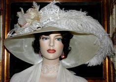 Kentucky Derby Hat Edwardian Hat Downton Abbey Hat Flapper Hat Church Hat ~ Run for the Roses ~ Ivory & Large Rose Hat