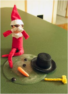 Elf on shelf and his melted snowman