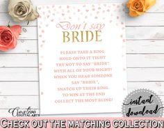 Don't Say Bride Bridal Shower Don't Say Bride Pink And Gold Bridal Shower Don't Say Bride Bridal Shower Pink And Gold Don't Say Bride XZCNH #bridalshower #bride-to-be #bridetobe