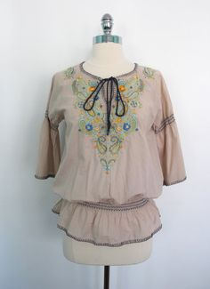 Won't you be mine? Vintage Mexican Blouse / Tan Cotton Embroidered / by ThisBlueBird, $24.00