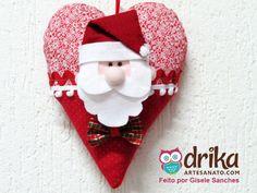 Coração de feltro para o Natal