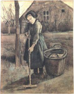 Van Gogh's 'Peasant Girl Raking' (watercolor), 1881