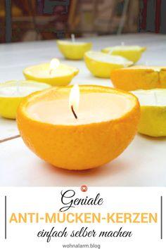 Nicht nur Zitronen sondern auch Orangen eignen sich super für die Anti-Mücken-Kerzen. Unser DIY zeigt dir Schritt-für-Schritt, wie du eine wirkungsvolle Mücken-Abwehr machst die dazu noch toll aussieht.