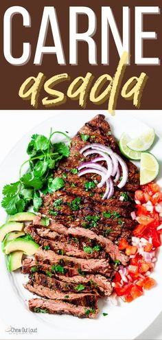 This Carne Asada recipe is one of my favorite recipes. You can make the most tender, flavorful carne asada using the more affordable/traditional skirt or flank steaks with the right technique. #carneasada #steak #steakrecipe #carneasadasteak Healthy Meat Recipes, Vegetarian Recipes Dinner, Grilling Recipes, Mexican Food Recipes, Real Food Recipes, Meal Recipes, Pork Recipes, Dinner Recipes Easy Quick, Easy Dinners
