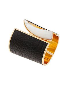 Rachel Zoe 14K Plated & Leather Mother-of-Pearl Hinged Cuff