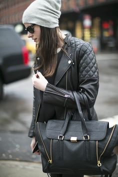 all black, grey beanie