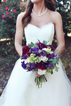 Gorgeous purple bouquet!   Photo by j.woodbery photography, via http://theeverylastdetail.com/2013/10/09/fall-purple-champagne-alabama-wedding/