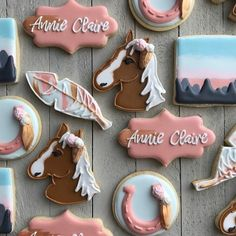 Decorated Horse Cookies 13 Birthday Cake, Horse Birthday Parties, Birthday Cookies, Cowgirl Birthday, Cowgirl Cookies, Horse Cookies, Horse Party Decorations, First Communion Cakes, Paris Cakes