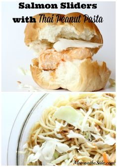 Salmon Sliders with Thai Peanut Pasta for your summer parties! #BlockPartyHero ad
